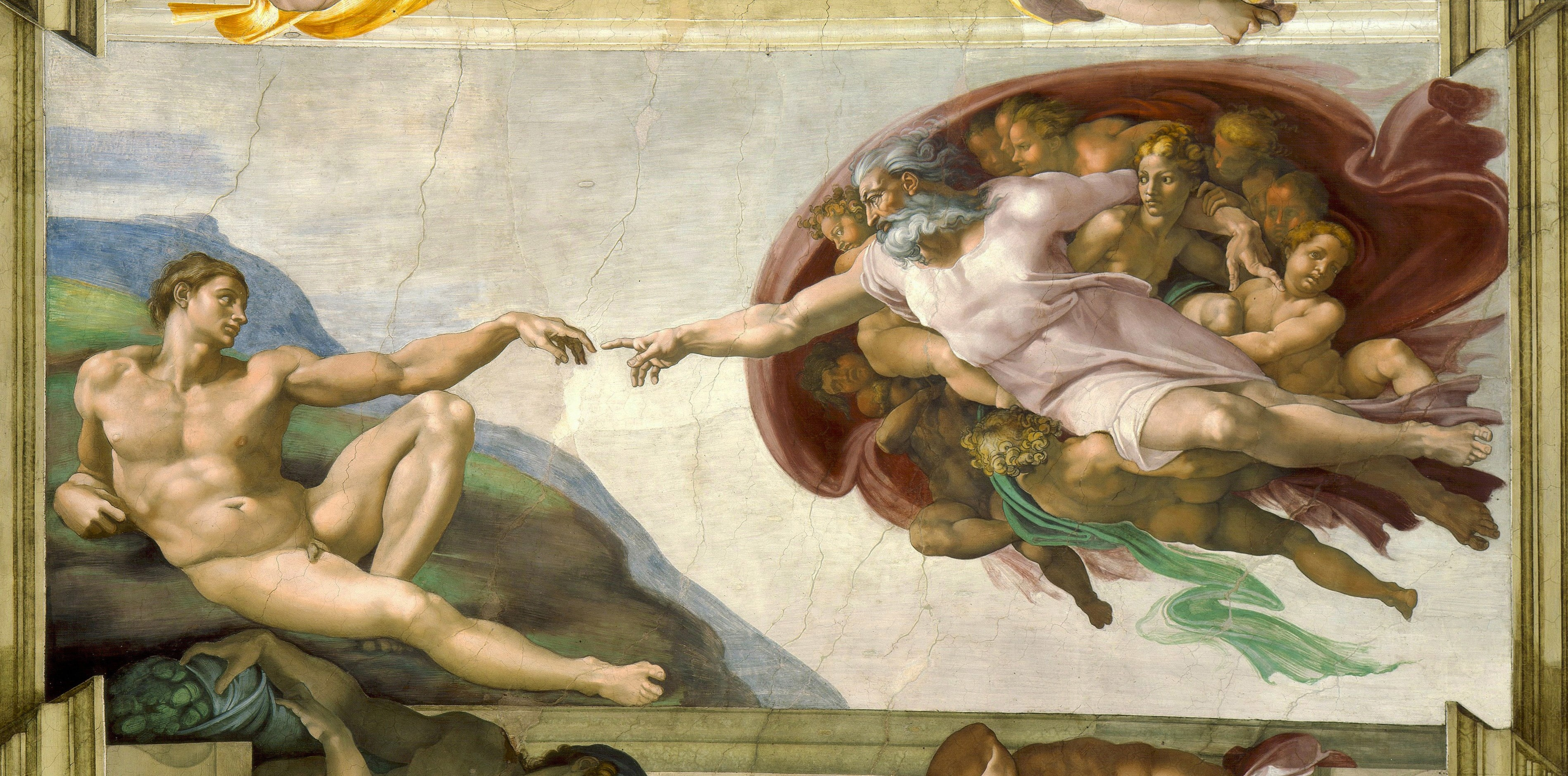 ID: The Creation of Adam is visible in its restored, vibrant colors