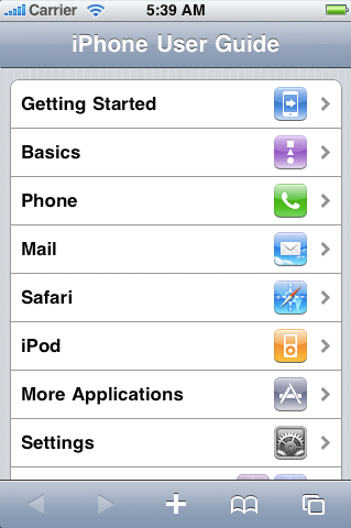 iPhone user guide in Safari