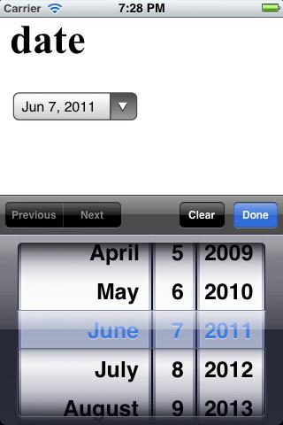 iOS Date Input
