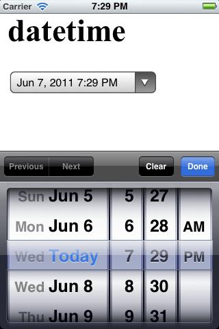 iOS Datetime Input