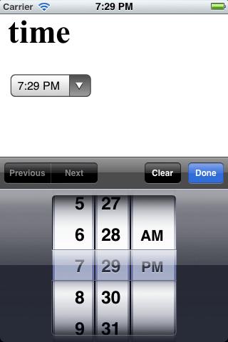 iOS Time Input
