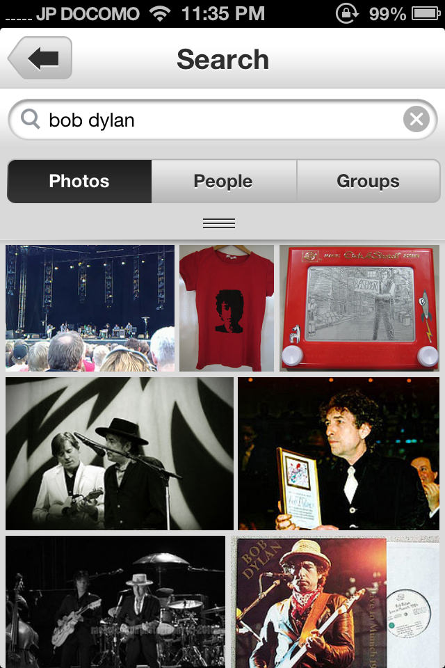 Flickr mobile app image search