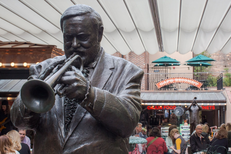 "Al ""Jumbo"" Hirt Jazz statue at Cafe Beignet."