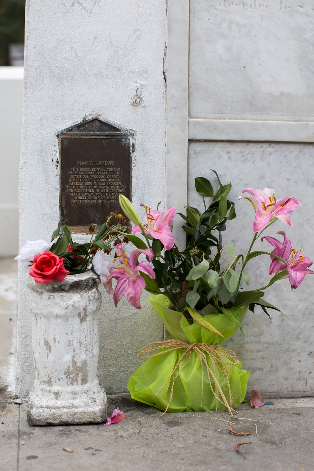 "Grave of Marie Laveau, Queen of Voodoo.  Note the barely visible ""XXX"" marks."