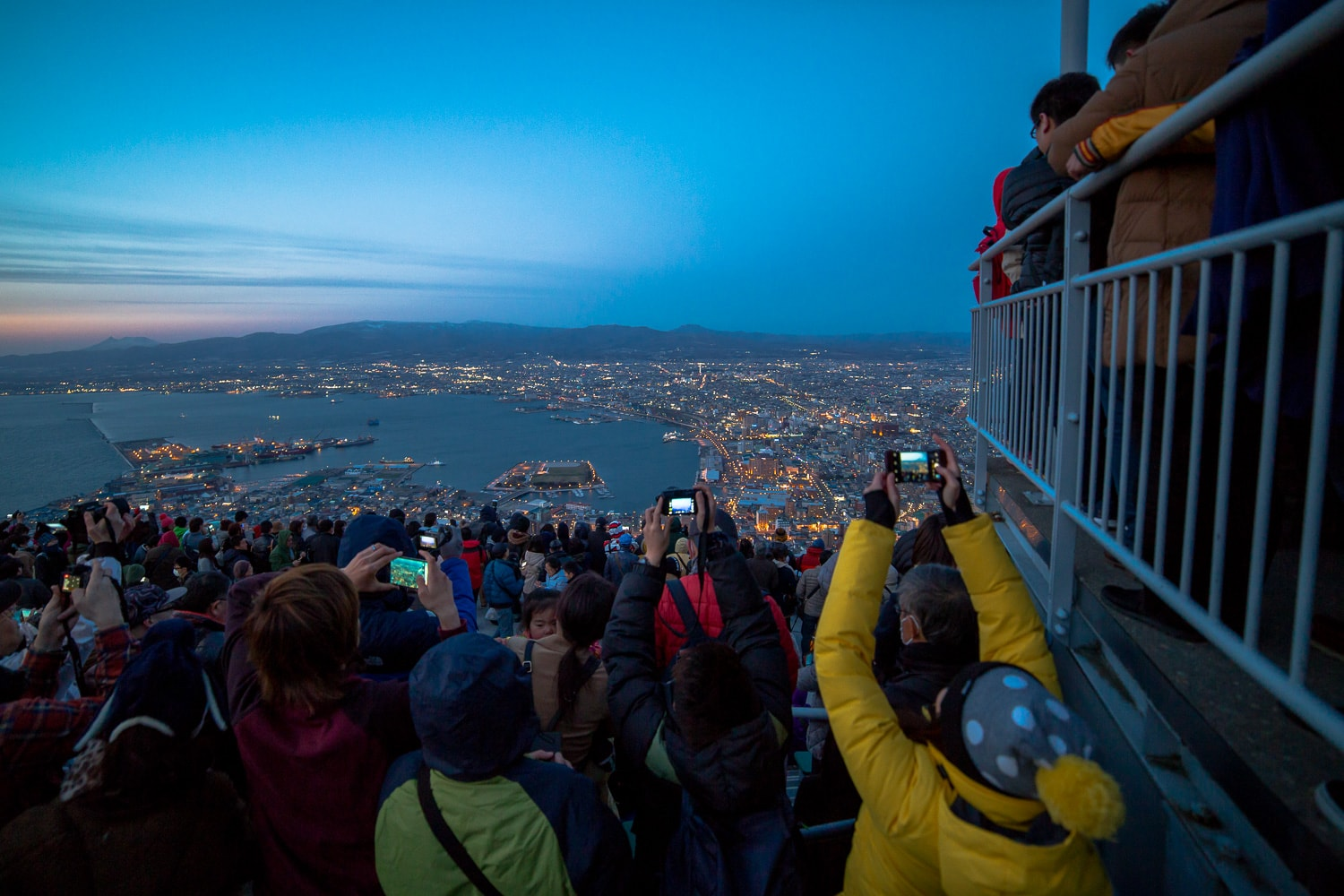 Hakodate night view - the reality of the crowds.  Absolutely packed.