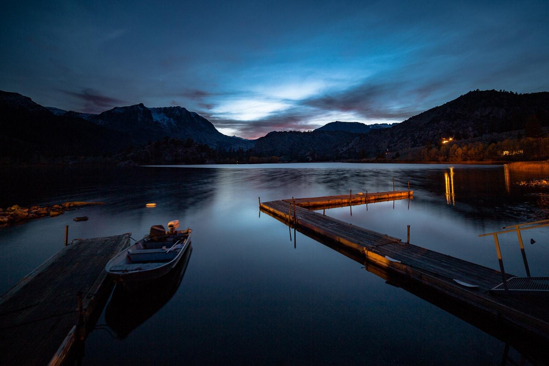 Boat docked at June Lake