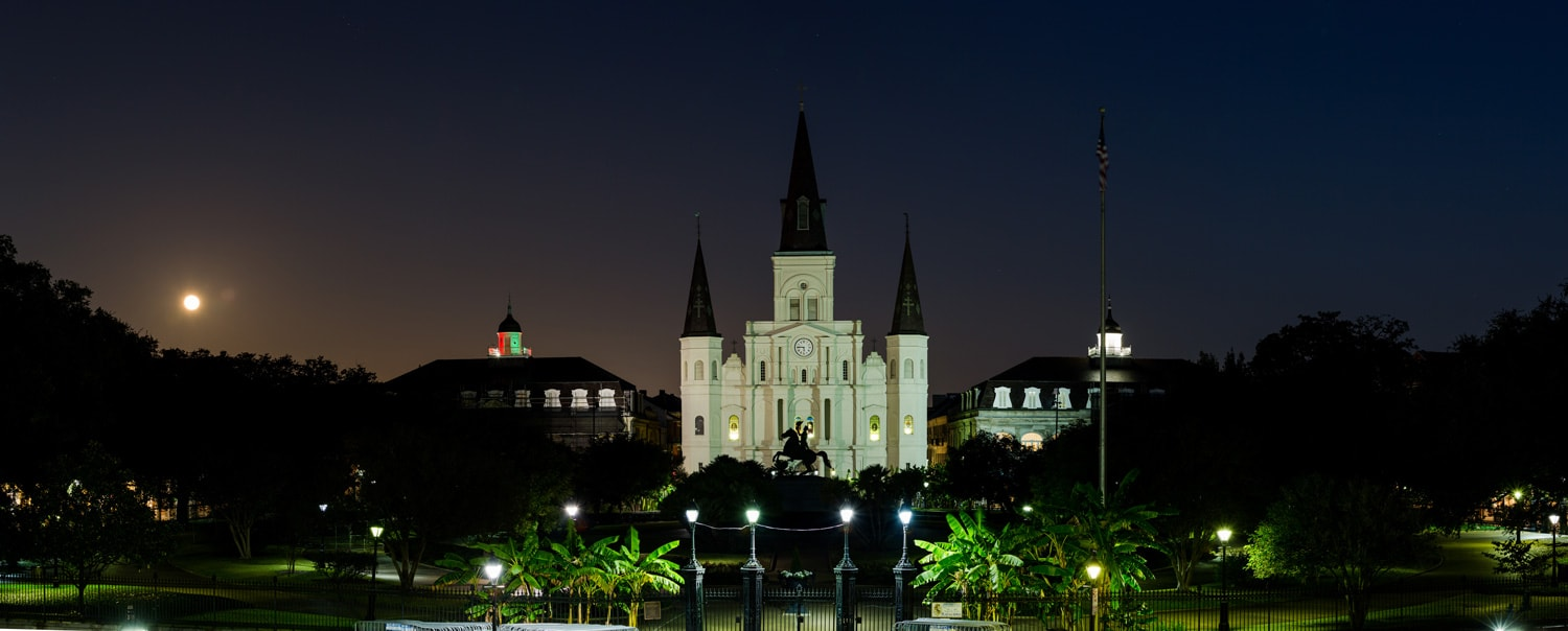 Jackson Square at night with the largest supermoon in decades (New Orleans)