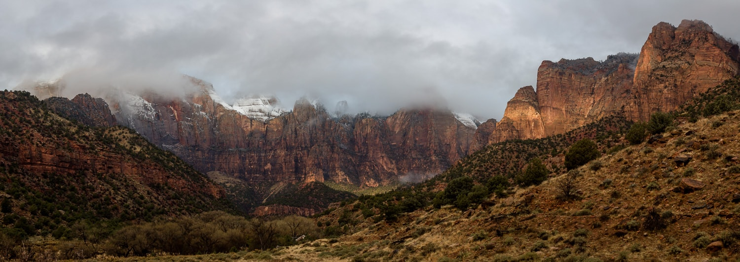 Misty Towers of the Virgin mountains in Zion National Park