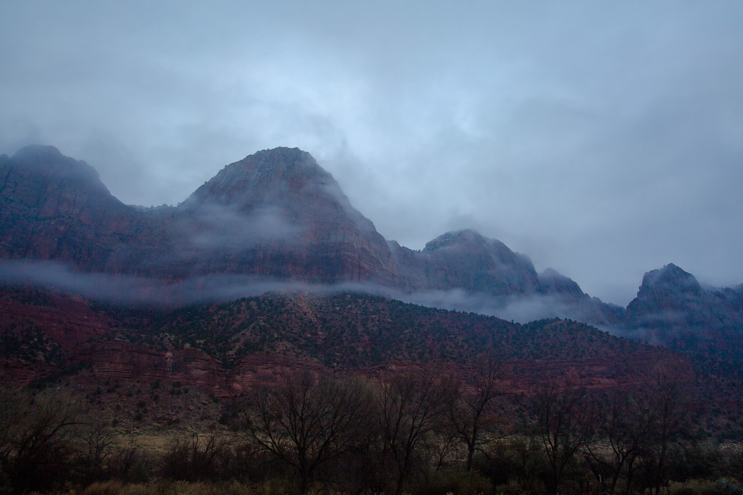 Misty morning mountains in Zion National Park